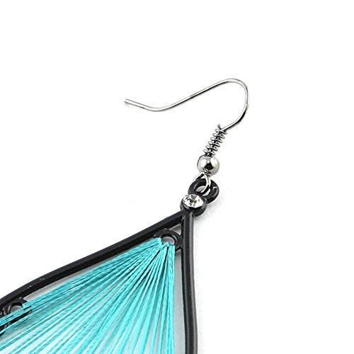 Boucles d'oreilles pendante - Coton - Bijou fantaisie mode et tendance - Goutte - Bleu - Zaria - Cadeau Femme pas cher - Mes Bijoux Bracelets