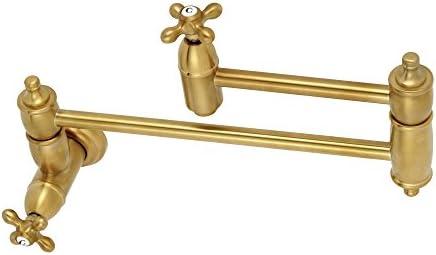 Kingston Brass KS3107AX Wall Mount Pot Filler Kitchen Faucet, Brushed Brass