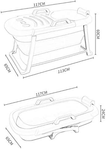 アダルトバスタブ付き折りたたみバスタブ家庭用ポータブル大きなバスタブアームレストデザイン(117X60X65CM、サイズ:カバー付) (色 : 緑)