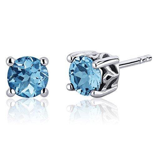 (Scroll Design 2.00 Carats Swiss Blue Topaz Round Cut Stud Earrings Sterling Silver)