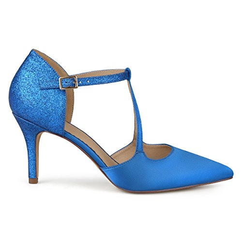 Brinley Co. Womens Faux Leather Satin Glitter Pointed Toe V-Strap Heels Blue, 7.5 Regular US ()