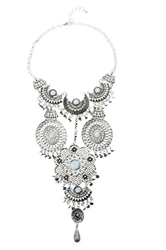 [Tagoo Women's Bohemian Style Ladies' Flower Pendant Alloy Necklace(White)] (Artist Costumes Halloween 2016)