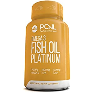 PacificCoast NutriLabs 2000mg Fish Oil, 1,400mg Omega 3, 800mg EPA, 600mg DHA, Free Ebook, 120 Count
