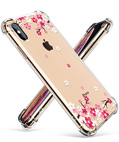 GVIEWIN Clear Case for iPhone Xs Max, Flower Pattern Design Soft & Flexible TPU Ultra-Thin Shockproof Transparent Floral Cover, Cases for iPhone Xs Max 6.5 Inch 2018 (Peach Blossom/Pink) ()