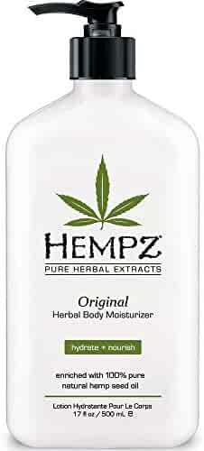 Original, Natural Hemp Seed Oil Body Moisturizer with Shea Butter and Ginseng, 17 Fluid Ounce - Pure Herbal Skin Lotion for Dryness and Flaking - Nourishing Vegan Body Cream in Floral and Banana