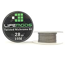 LifeMods Double Twisted Nichrome 80 spool AWG 28 gauge 32' feet/roll