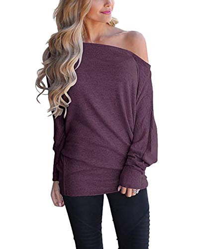 Women Sweaters Boutique - Sunm boutique Women's Off Shoulder Loose Pullover Sweater Fashion Sleeve Knit Jumper Oversized Tunics Top Deep Purple