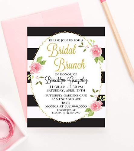 Brunch Bridal Shower Invitations, Bridal Shower Brunch Invitations, Floral Bridal Shower Invitations, Rustic Bridal Shower Invitations, Your choice of Quantity and Envelope Color]()