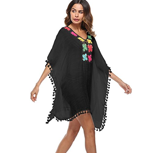 Hot Sale!Swimsuit Cover-Up,Todaies Women Tassel Loose Large Size Beach Swimsuit For Women Sleeve Coverups Bikini Cover Up Net (Free size, Black) - Sale Today
