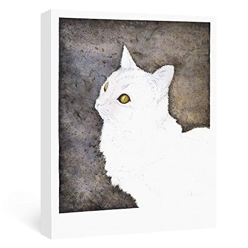 (SUMGAR Animal Wall Art White Cat with Brown Background Hand Painted Watercolors Artwork Wall Decorations Gifts for Pet Lovers,)