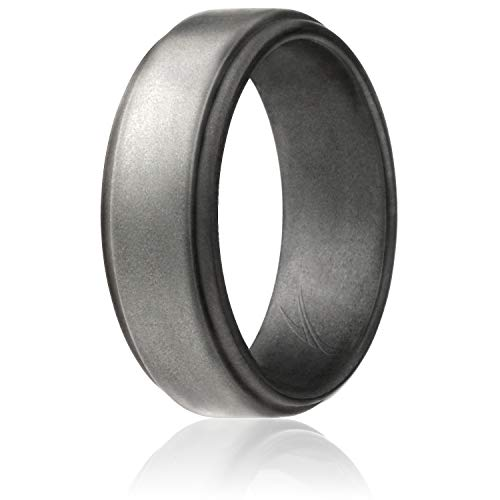 ROQ Silicone Wedding Ring for Men by, Singles Silicone Rubber Band Step Edge - Beveled Metalic Platinum - Size 12