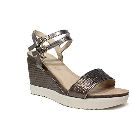 Braccialini high Wedge Sandal with Pewter-Colored Article B2036 Metal Wedge Pewter New Spring Summer Collection 2018 MjsaJ