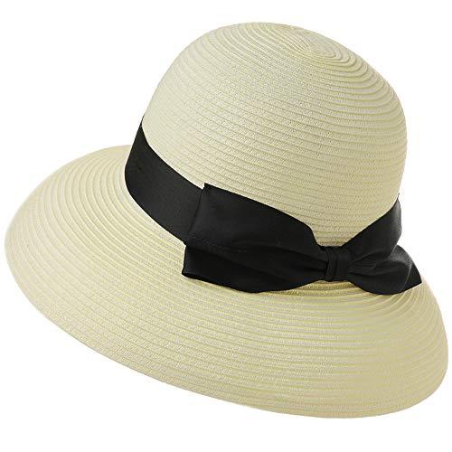 Womens Floppy Summer Sun Beach Straw Panama Derby Black Bow Ribbon Hat Fedora Cloche SPF50 Packable Wide Brim White 55-57cm