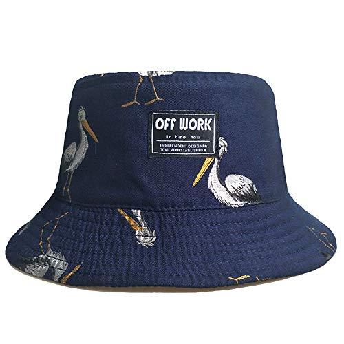 ANFAY Unisex Sun Bucket Hat Sunscreen Wide Brim UPF50+ Red-Crowned Crane Printed Pattern Cotton Fisherman Cap,Blue