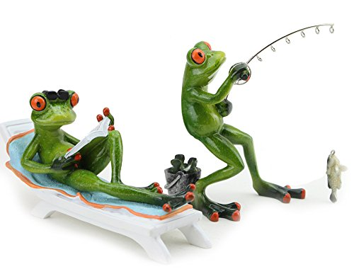 - [Set of 2] Novelty Funny Frog Figurines Combo Set ~ 1 Fishing Frog and 1 Reading a Book Frog Statue Home Decor (G16618 + G16619) ~ We Pay Your Sales Tax