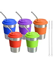 BESTEASY Stainless Steel Cups with Lids and Straws, Drinking Tumblers Eco-Friendly BPA-Free for Adults 12 Oz Metal Drinking Tumbler Unbreakable Beer Cups with Brush