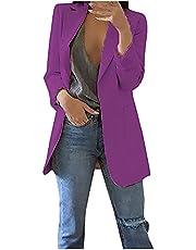 Wirziis Women Casual Long Sleeve Blazer Beige/Black Open Front Lapel Jacket Suit Elegant Lightweigh Work Office Cardigan