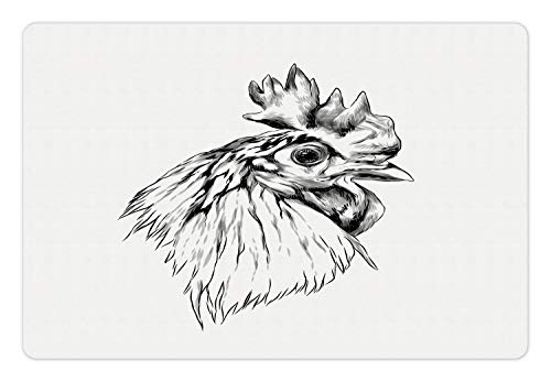Ambesonne Farm Animal Pet Mat for Food and Water, Sketch of Simplistic Drawn Rooster Head Portrait Print, Rectangle Non-Slip Rubber Mat for Dogs and Cats, Charcoal Grey and White