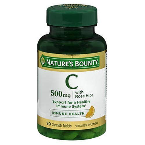 Nature's Bounty Vitamin C 500 mg with Rose Hips Chewable Tablets, Orange Flavor 90 ea (Pack of 2)