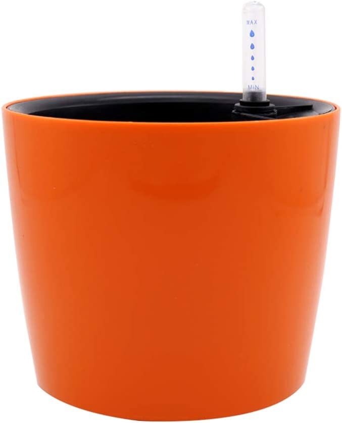 Yardwe Self Watering Planter for Indoor Or Outdoor Plants Garden Foolproof Modern Decorative Planter Pot Plastic Self Watering Pots for House Plants,Flowers,Herbs (Orange)