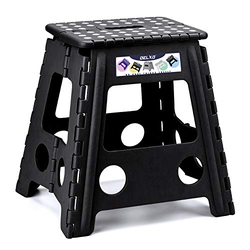 Delxo Folding Step Stool Super Strong Plastic Folding Stools,16 inch Foldable Step Stool for Kids and Adults,Non Slip Kitchen Stepping Stools, Garden Step ()