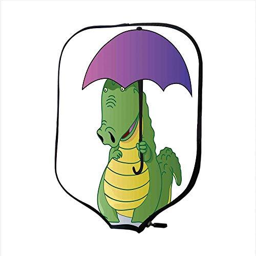 Neoprene Premium Pickleball Paddle Racket Cover Case,Reptile,Cute Crocodile Standing with Umbrella Rain Cartoon Humor Fiction Safari Design Decorative,Green Purple Yellow,Fit for Most Rackets