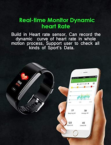 Smart Wristbands Watch Fitness Tracker Blood Pressure Heart Rate Monitor IP67 Waterproof Fitness Tracker Pedometer Sport Bracelet (Black) … by Verna (Image #6)