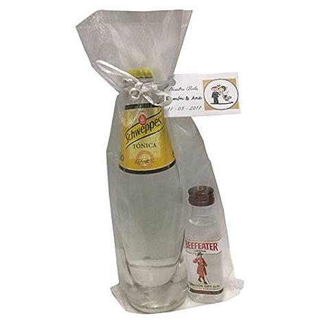 af7557518 Pack miniatura de ginebra Beefeater con tónica Schweppes en bolsa de organza  para regalo (Pack
