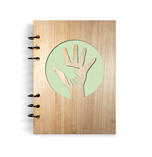 open-giving-hands Handmade Art Wood Notebook Refillable Diary Sketchbook Daily Notepad Notebook Cover Wood Journal Gifts