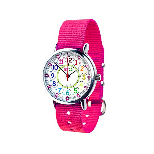 EasyRead Time Teacher Children's Watch, 12 & 24 Hour Time, Rainbow Colors, Pink Strap ()
