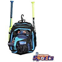 "FullScope Sports ""Elite Youth Baseball Bag - Backpack for Baseball, T-Ball, Softball Equipment Gear for Kids, Youth, and Adults - Fits 2 Bats, Helmet, Glove, Shoes - Vented Shoe Compartment (Blue)"