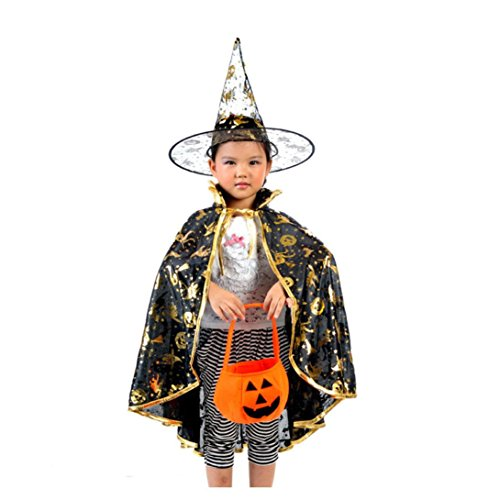 [Oksale® Halloween Costume Dainty Golden Polyester Pumpkin Robe Shawl +Pumpkin Bag+ Wizard's Hat] (80s Prom King And Queen Costume)