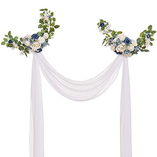 Ling's moment Charming Dusty Blue Style Artificial Rose Flower Swags and Garlands (Pack of 2) with White Sheer Swag for Wedding Arch Wall Sweetheart Table and Chair Back Floral Decorations