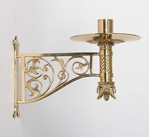 (Ornate Wall Mount Church Consecration Candlestick in Solid Brass - Chalice (CCG-252))