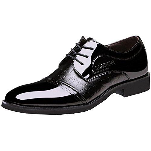 Casuales Clásico Zapatos Moda Cordones Ante Negro Brillante Casual Verano Hombre Derby Calzado Boda Cuero Wealsex BCwE7qB