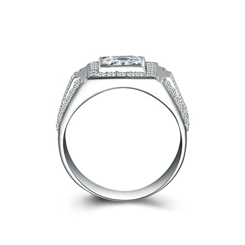Bishilin Silver Plated Princess Cut Cubic Zirconia Inlaid Wedding Rings And Engagement Rings For Him Size BISHILIN5X6JRS237M13 by Ringfashion (Image #1)