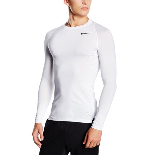 Nike Men's Pro Cool Compression L/S White/Matte Silver/Black T-Shirt XL (Nike Basketball T Shirts)