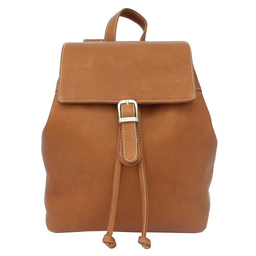 Piel Leather Top Flap Drawstring Backpack, Saddle, One Size ()