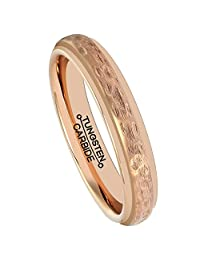 HSG Rose Gold Tungsten Ring Men Tungsten Carbide Wedding Band Plated Matte 4mm Handcrafted Hammered Grain