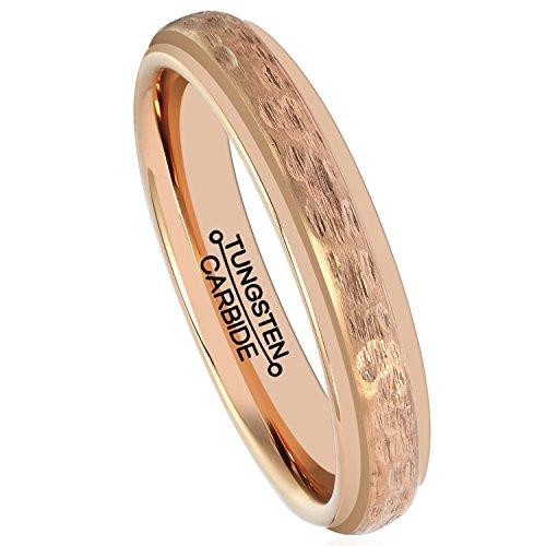 HSG Rose Gold Tungsten Women Ring Men Tungsten Carbide Wedding Band Plated Matte 4mm Handcrafted Hammered Grain (Gold Band Rose Wedding Hammered)