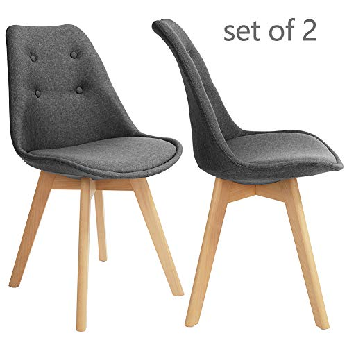 GreenForest Dining Chairs Set of 2 Modern Fabric Eames Kitchen Side Chairs Style Accent Leisure Chair with Solid Wood Legs for Living Room, Gray