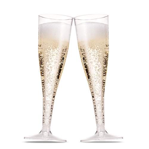 50 Plastic Champagne Flutes ~ 5 Oz Clear Plastic Toasting Glasses ~ Disposable Wedding Party Cocktail Cups -