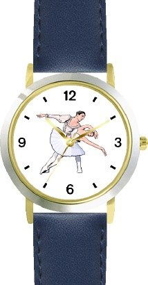 Ballerina and Ballet Dancer Couple No.1 - WATCHBUDDY DELUXE TWO-TONE THEME WATCH - Arabic Numbers - Blue Leather Strap-Women's Size-Small by WatchBuddy