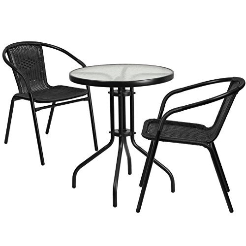MFO 23.75'' Round Glass Metal Table with 2 Black Rattan Stack Chairs
