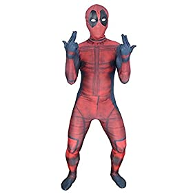 - 41PaVQBnL0L - AOVEI Kids Onesie Spandex Mask Cosplay 3D Costume Party Movies Halloween Bodysuits