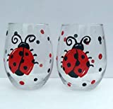 Cheap Red & Black Ladybug Hand Painted 20 oz Stemless Wine Glasses (Set Of 2)
