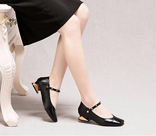 scarpe a Scarpe quadrata Sandali Spessore basse scarpe Donna AJUNR rivetto calzatura singola medio Moda tacco tacco Alla black testa trapanare Da molla HdxqwXZ