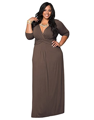 Zestway Women's Solid V-Neck 3/4 Sleeve Plus Size Evening Party Maxi Dress Brown 2XL