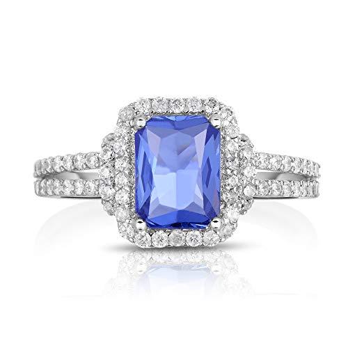 NATALIA DRAKE Blowout Sale 1CTTW Halo Brilliant Cushion Emerald Cut Tanzanite and White Sapphire Ring - Size 6