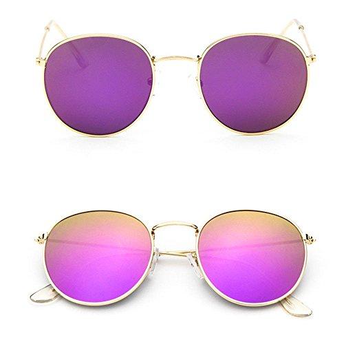 Men Women's Round Sunglasses Vintage Retro Oversized Mirror Glasses - Sunglasses Hong Kong Brand